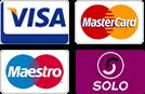 Major credit and debit cards accepted (e.g. Visa, MasterCard, Maestro, Solo)