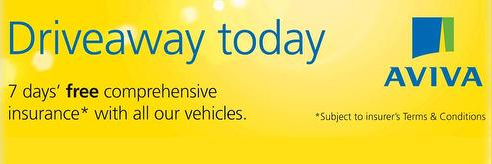 Aviva Driveaway 7 day FREE Driveaway Insuracence. Subect to terms and conditions.
